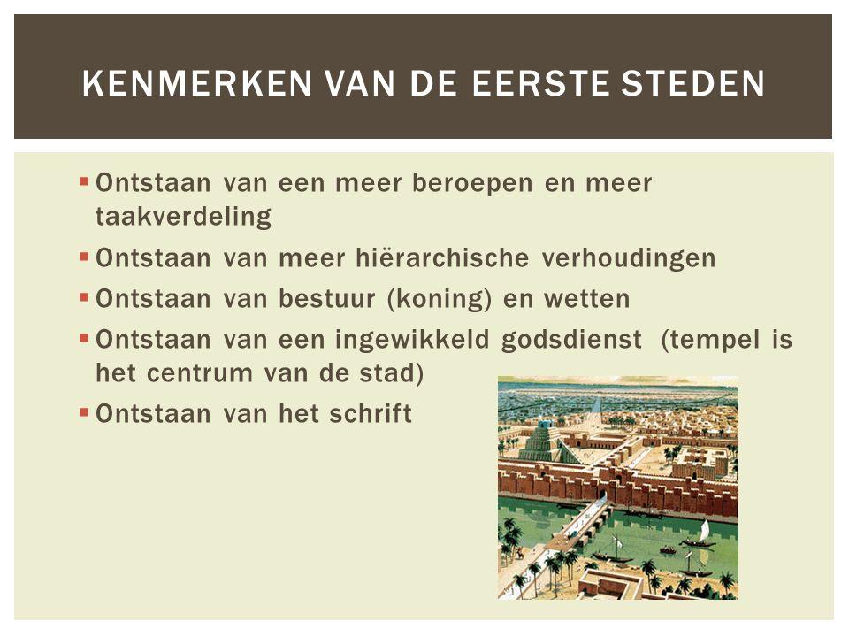 Kenmerken van de eerste steden