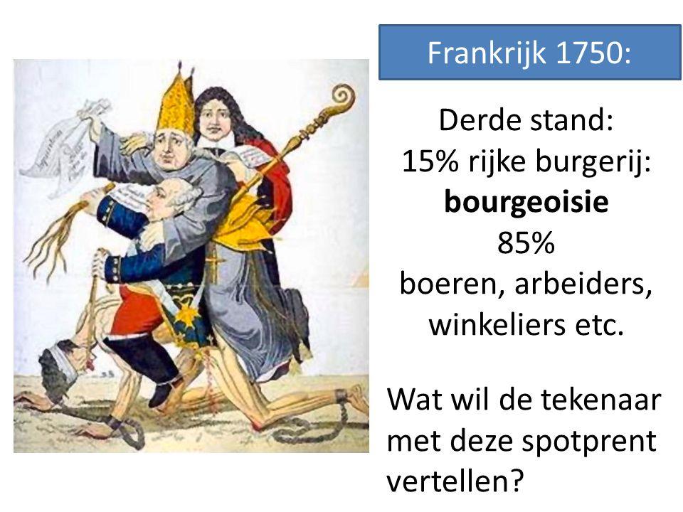 Frankrijk 1750: Derde stand: 15% rijke burgerij: bourgeoisie 85% boeren, arbeiders, winkeliers etc.