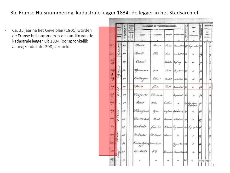 3b. Franse Huisnummering, kadastrale legger 1834: de legger in het Stadsarchief