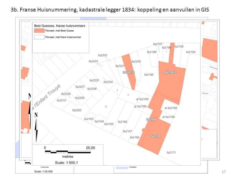 3b. Franse Huisnummering, kadastrale legger 1834: koppeling en aanvullen in GIS