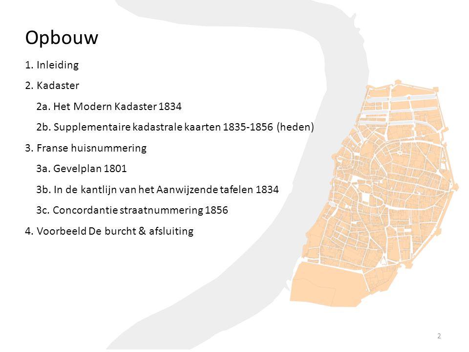 Opbouw 1. Inleiding 2. Kadaster 2a. Het Modern Kadaster 1834