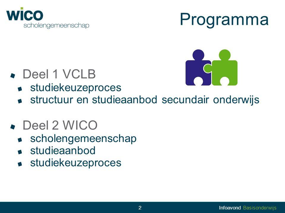 Programma Deel 1 VCLB Deel 2 WICO studiekeuzeproces