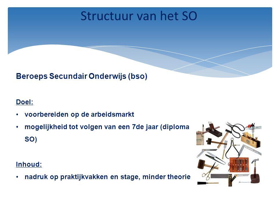 Structuur van het SO Beroeps Secundair Onderwijs (bso) Doel: