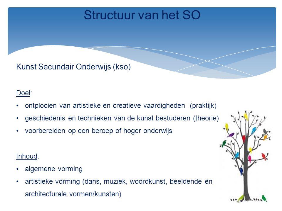 Structuur van het SO Kunst Secundair Onderwijs (kso) Doel: