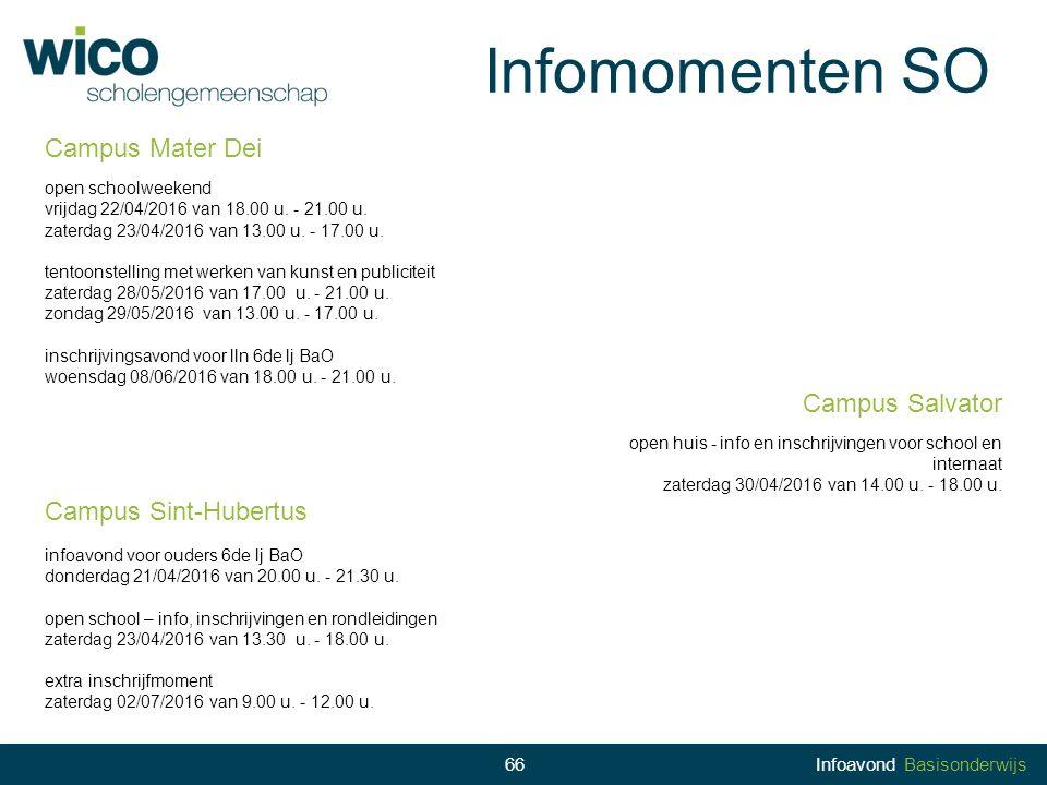Infomomenten SO Campus Mater Dei Campus Salvator Campus Sint-Hubertus