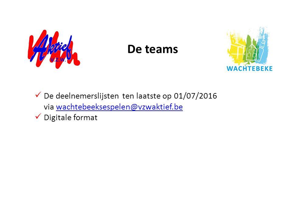 De teams De deelnemerslijsten ten laatste op 01/07/2016 via wachtebeeksespelen@vzwaktief.be.