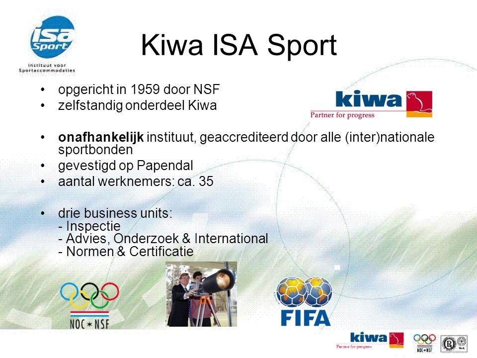 Kiwa ISA Sport opgericht in 1959 door NSF zelfstandig onderdeel Kiwa