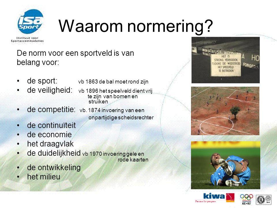 Waarom normering De norm voor een sportveld is van belang voor: