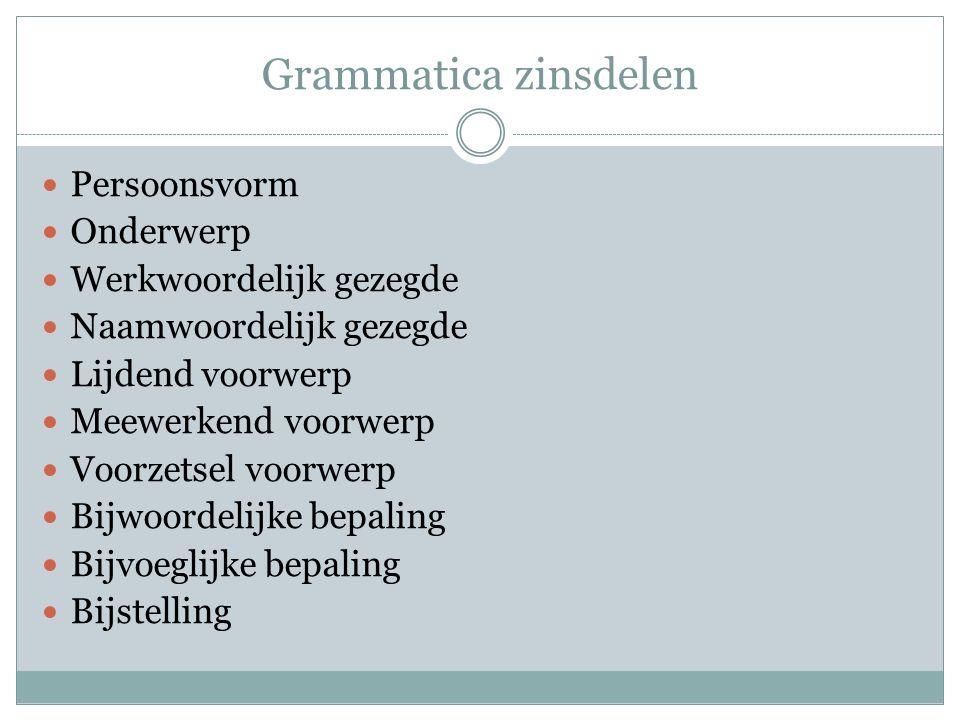 Grammatica zinsdelen Persoonsvorm Onderwerp Werkwoordelijk gezegde