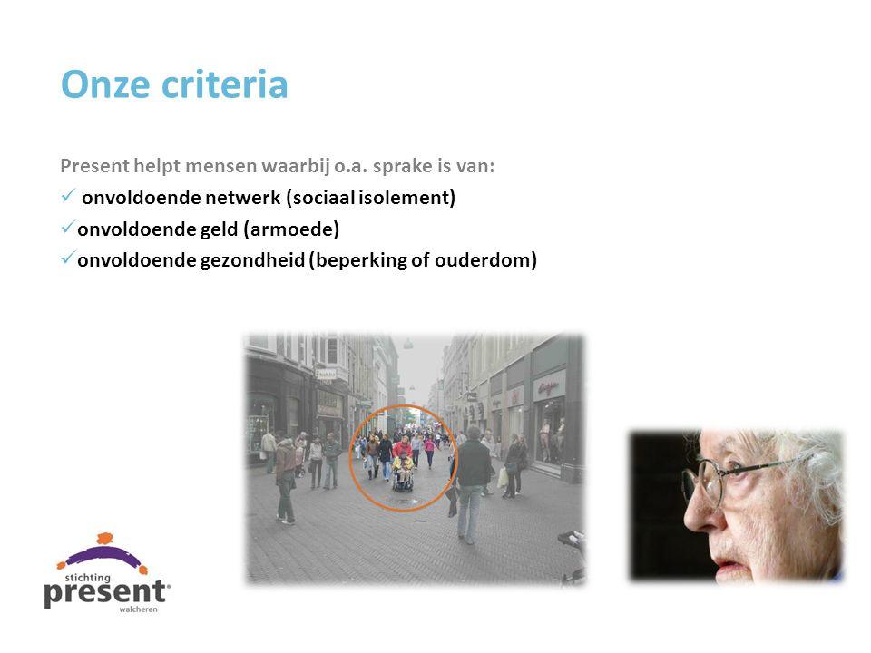 Onze criteria Present helpt mensen waarbij o.a. sprake is van:
