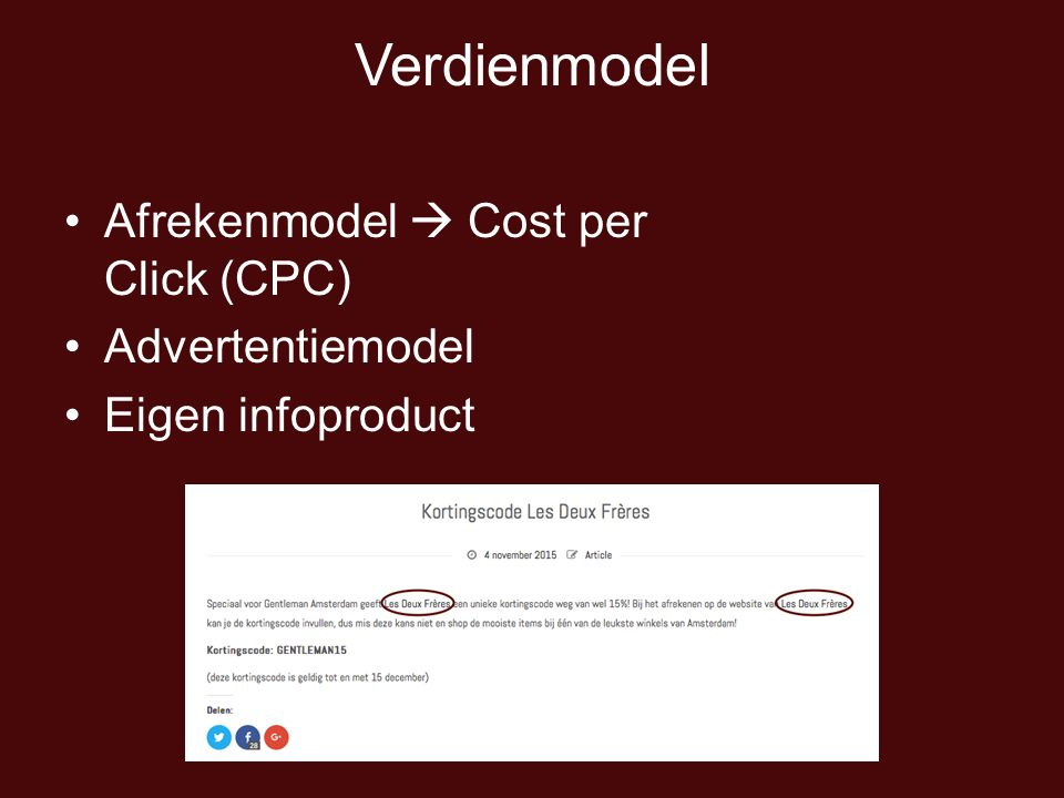 Verdienmodel Afrekenmodel  Cost per Click (CPC) Advertentiemodel