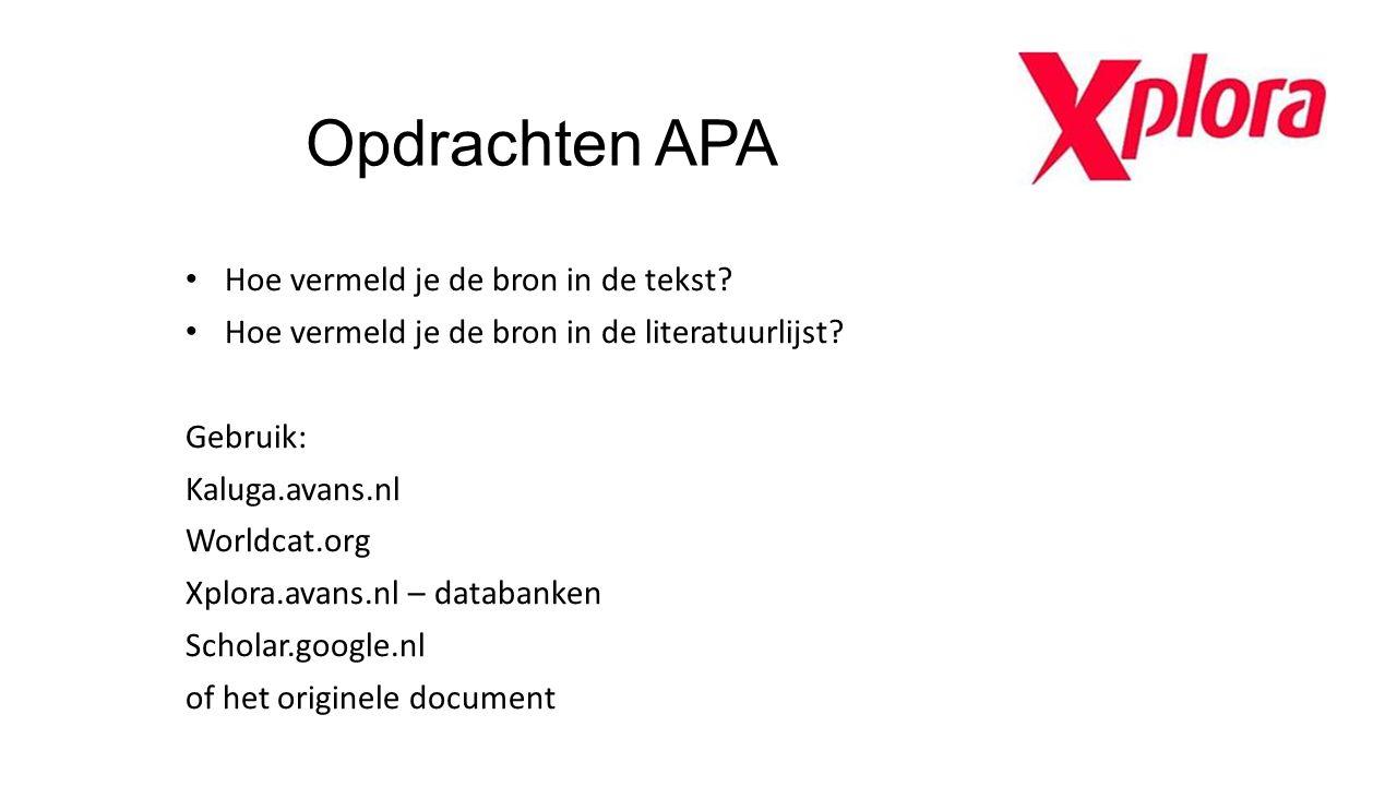 Opdrachten APA Hoe vermeld je de bron in de tekst