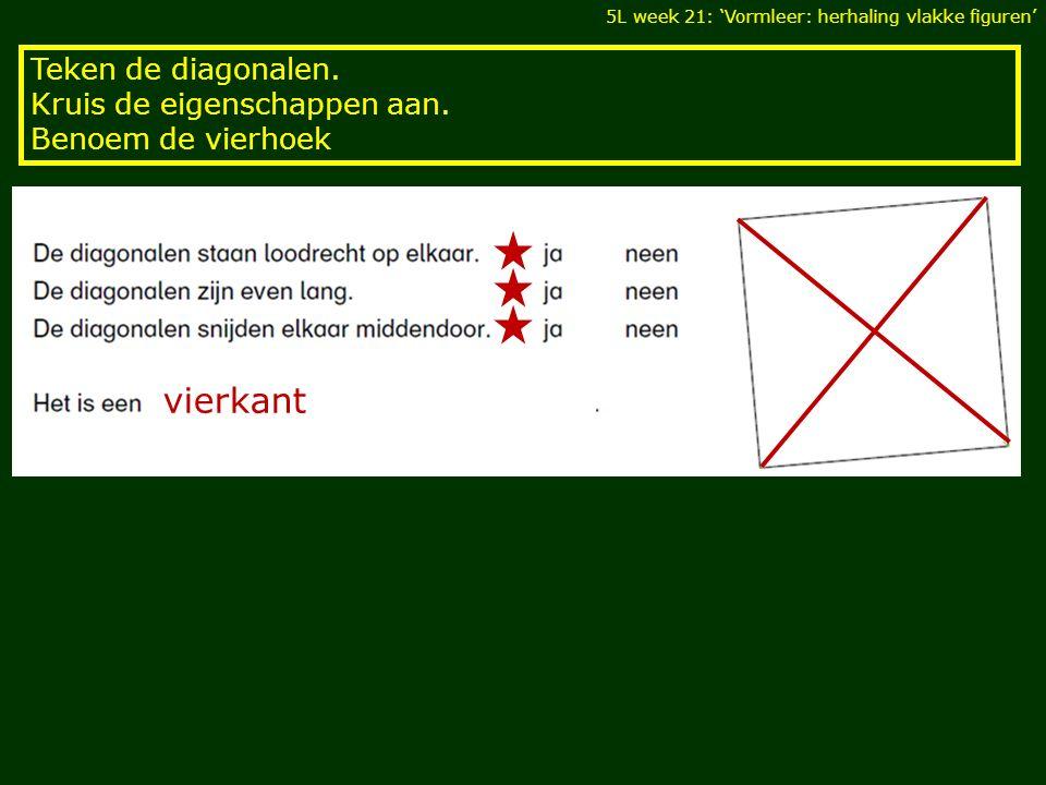 vierkant Teken de diagonalen. Kruis de eigenschappen aan.