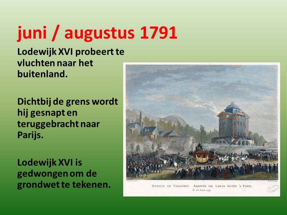 juni / augustus 1791 Lodewijk XVI probeert te vluchten naar het buitenland. Dichtbij de grens wordt hij gesnapt en teruggebracht naar Parijs.