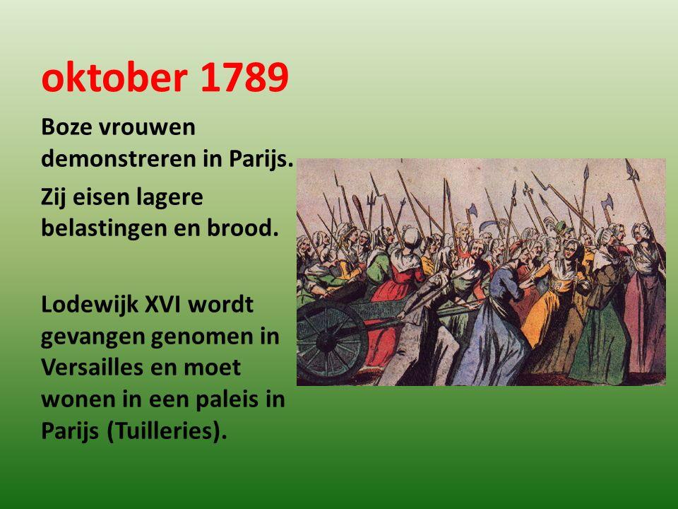 oktober 1789 Boze vrouwen demonstreren in Parijs.