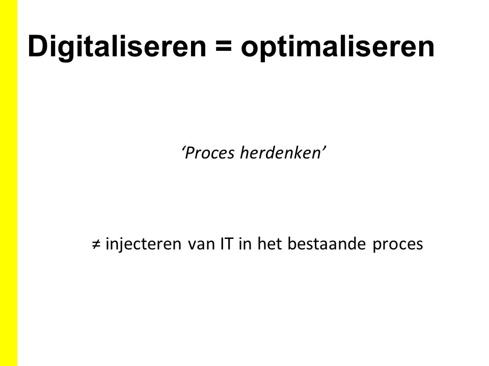Digitaliseren = optimaliseren