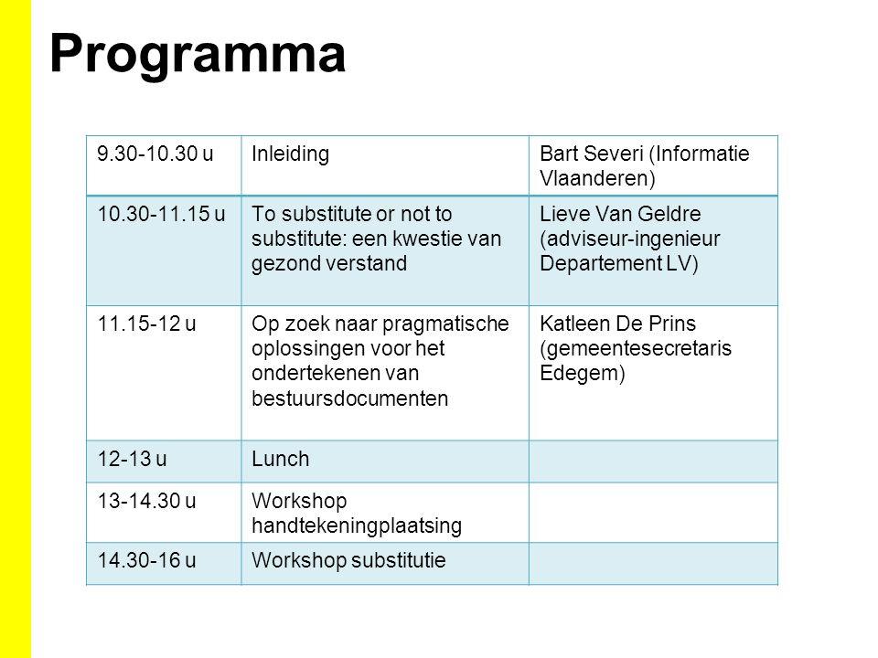 Programma 9.30-10.30 u Inleiding Bart Severi (Informatie Vlaanderen)