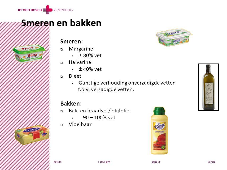 Smeren en bakken Smeren: Bakken: Margarine ± 80% vet Halvarine
