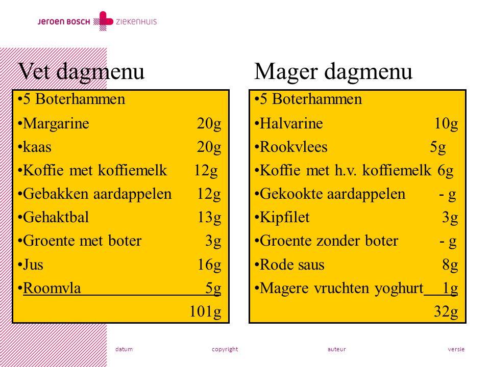 Vet dagmenu Mager dagmenu 5 Boterhammen Margarine 20g kaas 20g