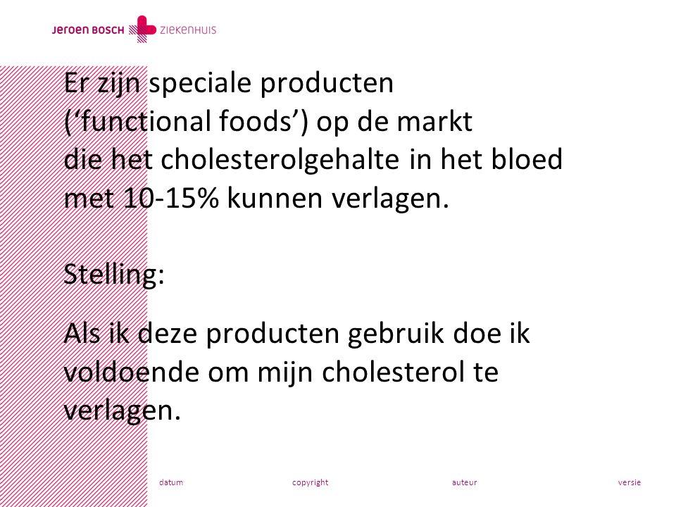 Er zijn speciale producten ('functional foods') op de markt die het cholesterolgehalte in het bloed met 10-15% kunnen verlagen. Stelling: