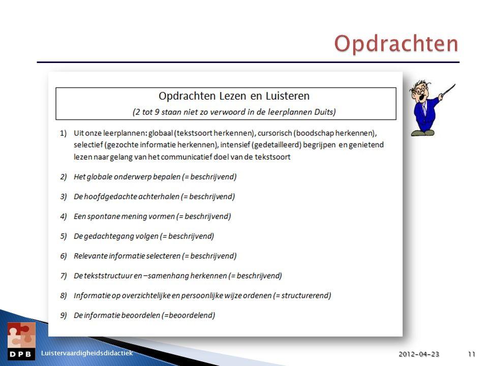 2012-04-23 Opdrachten Luistervaardigheidsdidactiek 2012-04-23