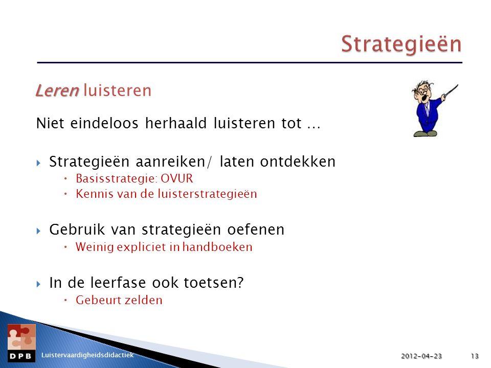 Strategieën Leren luisteren Niet eindeloos herhaald luisteren tot …