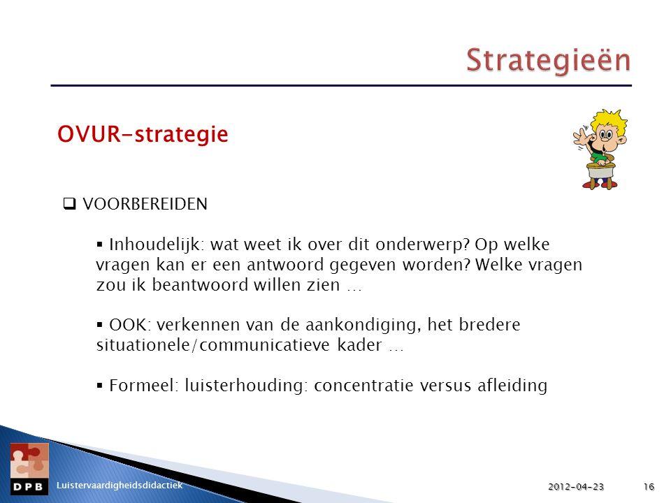 Strategieën OVUR-strategie VOORBEREIDEN
