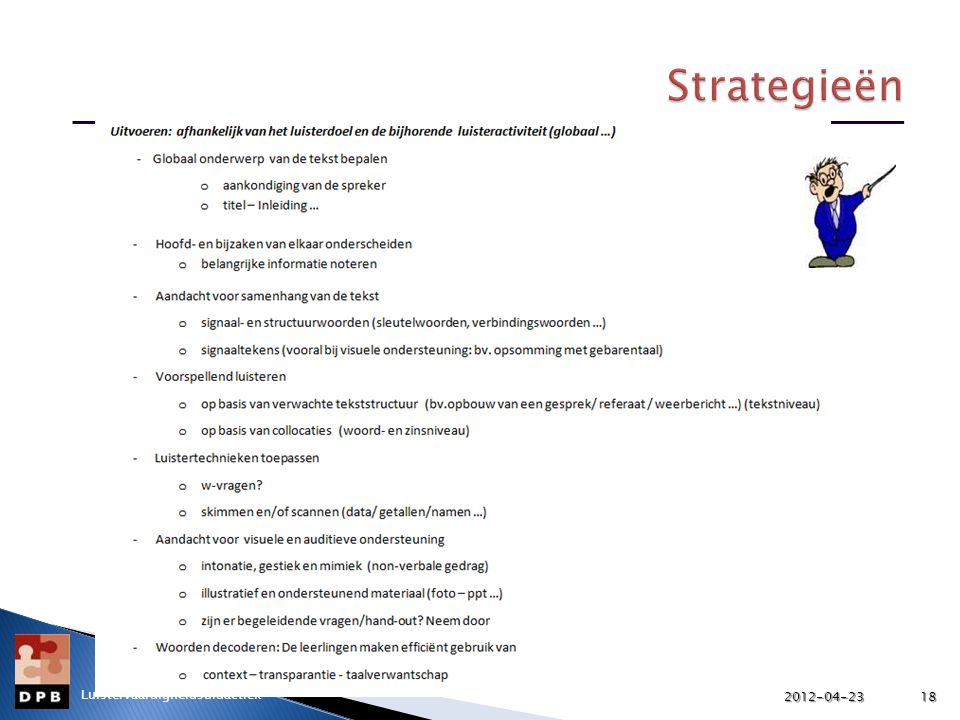 Strategieën Luistervaardigheidsdidactiek 2012-04-23