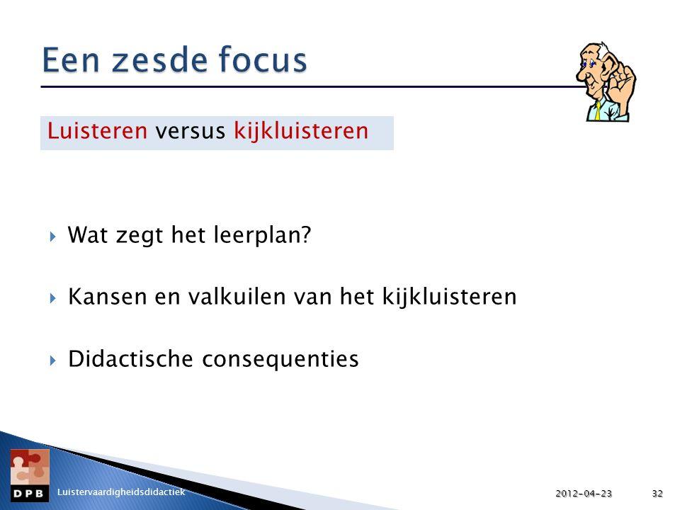Een zesde focus Luisteren versus kijkluisteren Wat zegt het leerplan