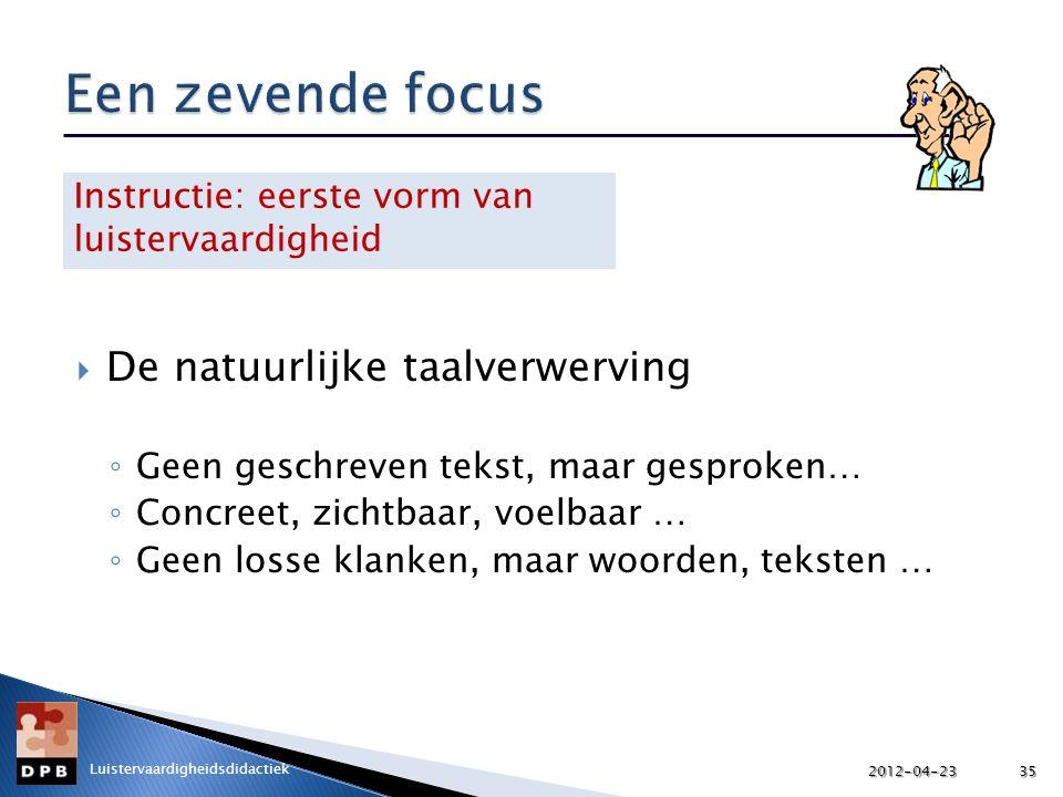 Een zevende focus De natuurlijke taalverwerving