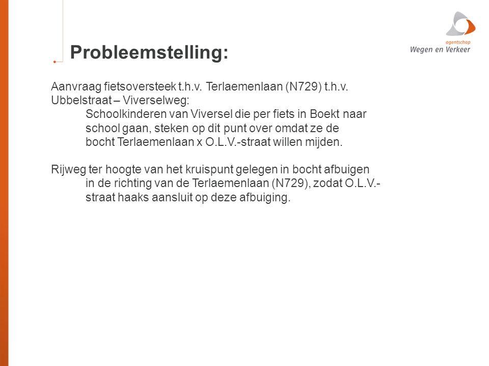 Probleemstelling: Aanvraag fietsoversteek t.h.v. Terlaemenlaan (N729) t.h.v. Ubbelstraat – Viverselweg: