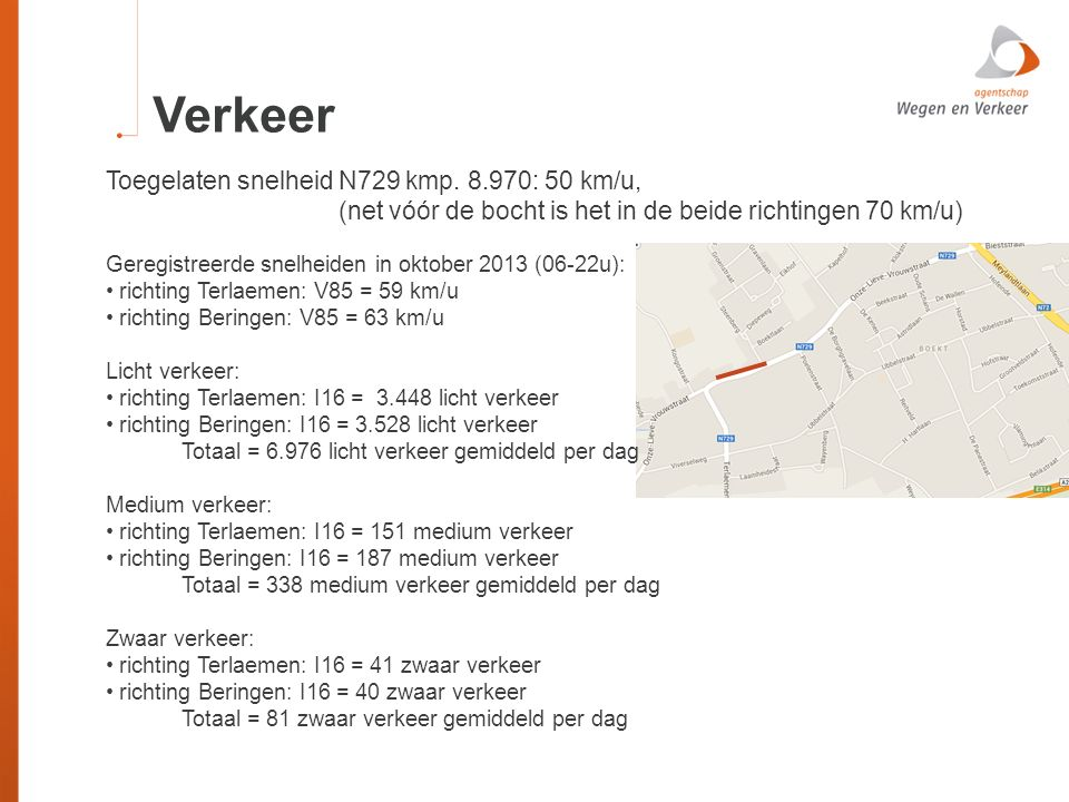 Verkeer Toegelaten snelheid N729 kmp. 8.970: 50 km/u,