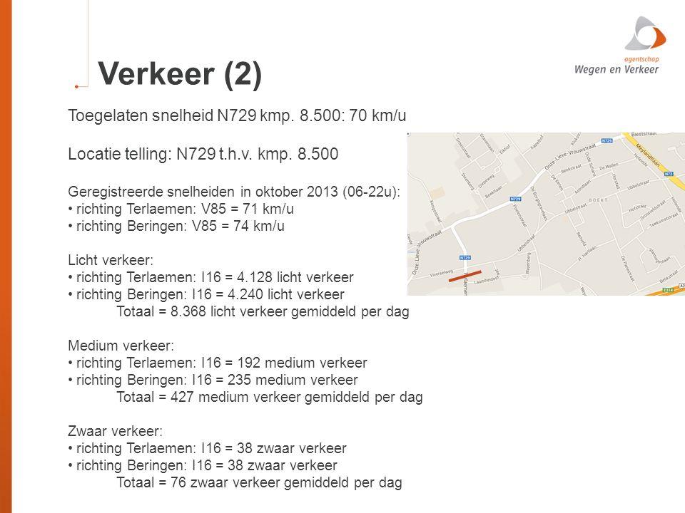 Verkeer (2) Toegelaten snelheid N729 kmp. 8.500: 70 km/u