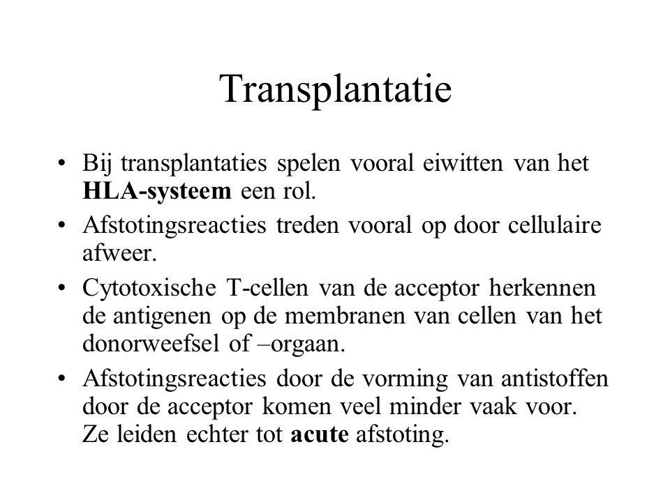Transplantatie Bij transplantaties spelen vooral eiwitten van het HLA-systeem een rol. Afstotingsreacties treden vooral op door cellulaire afweer.