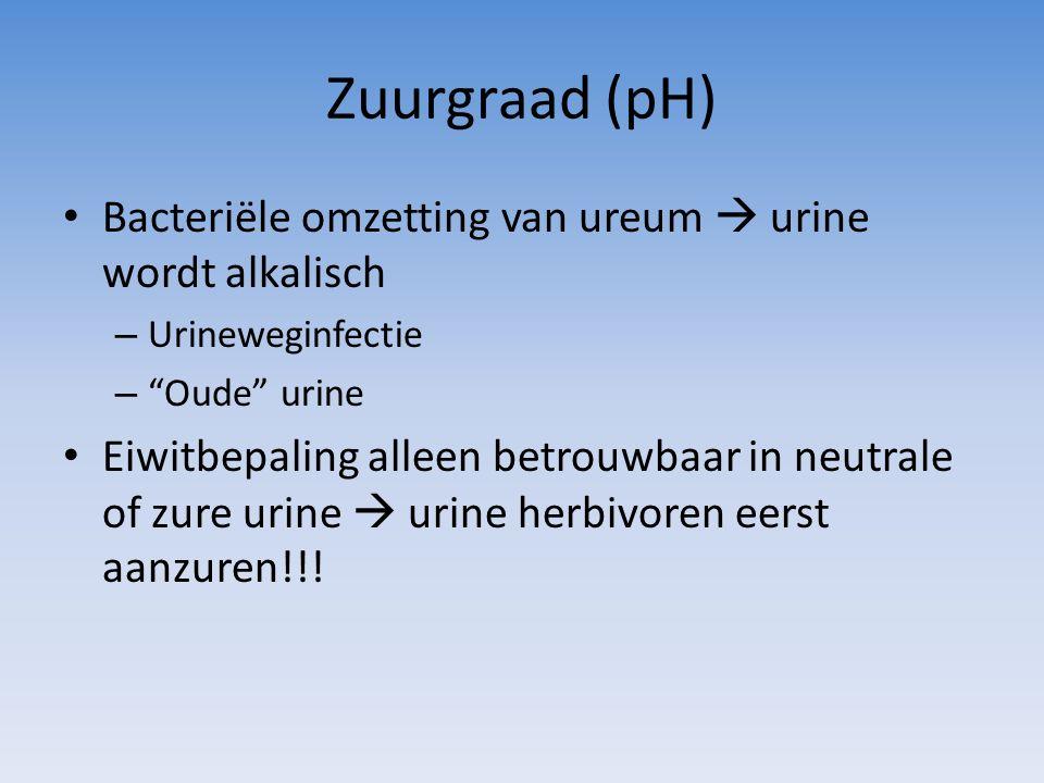 Zuurgraad (pH) Bacteriële omzetting van ureum  urine wordt alkalisch