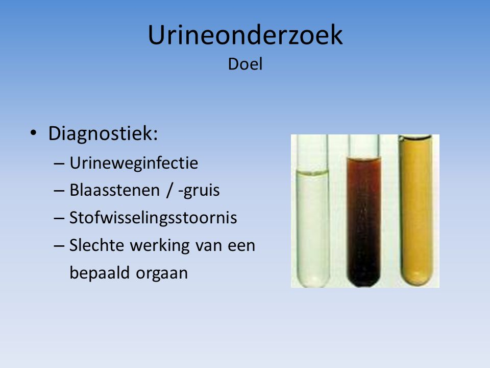 Urineonderzoek Doel Diagnostiek: Urineweginfectie Blaasstenen / -gruis