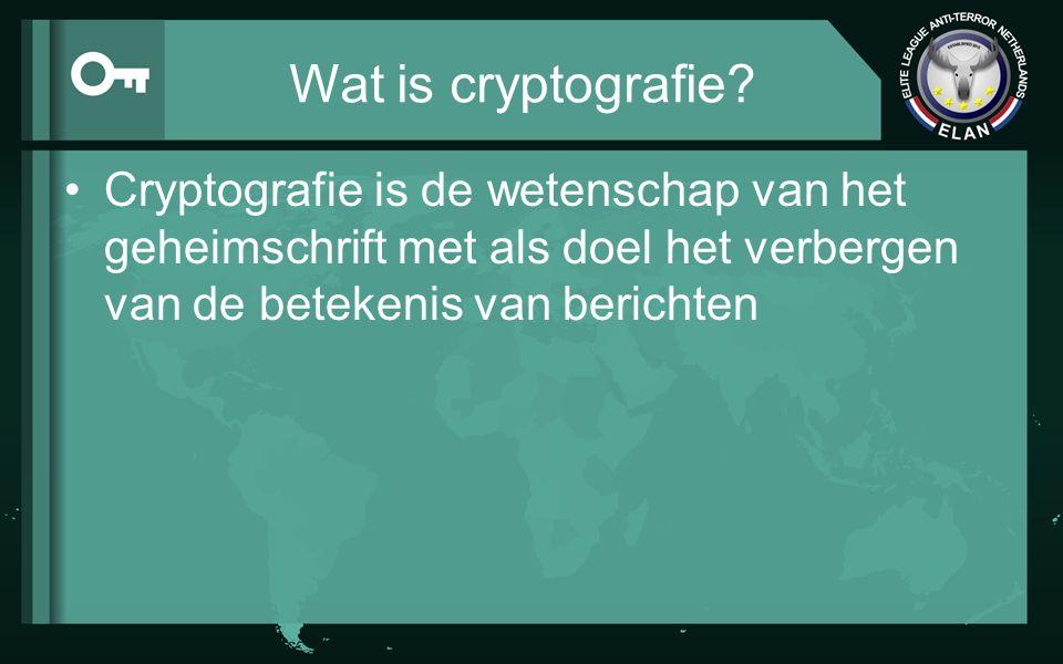 Wat is cryptografie Cryptografie is de wetenschap van het geheimschrift met als doel het verbergen van de betekenis van berichten.
