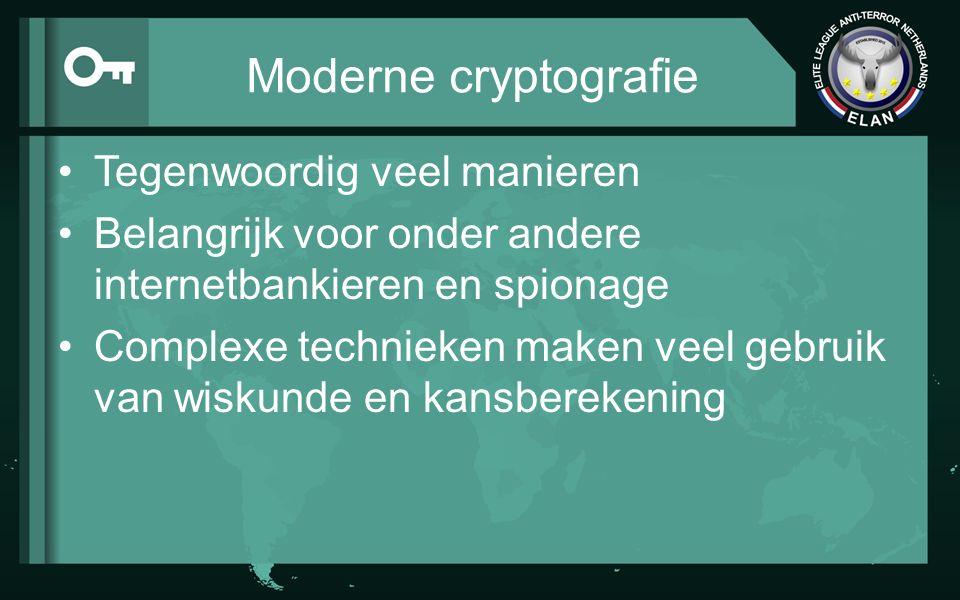 Moderne cryptografie Tegenwoordig veel manieren