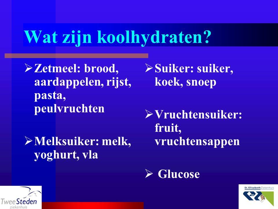 Wat zijn koolhydraten Zetmeel: brood, aardappelen, rijst, pasta, peulvruchten. Melksuiker: melk, yoghurt, vla.