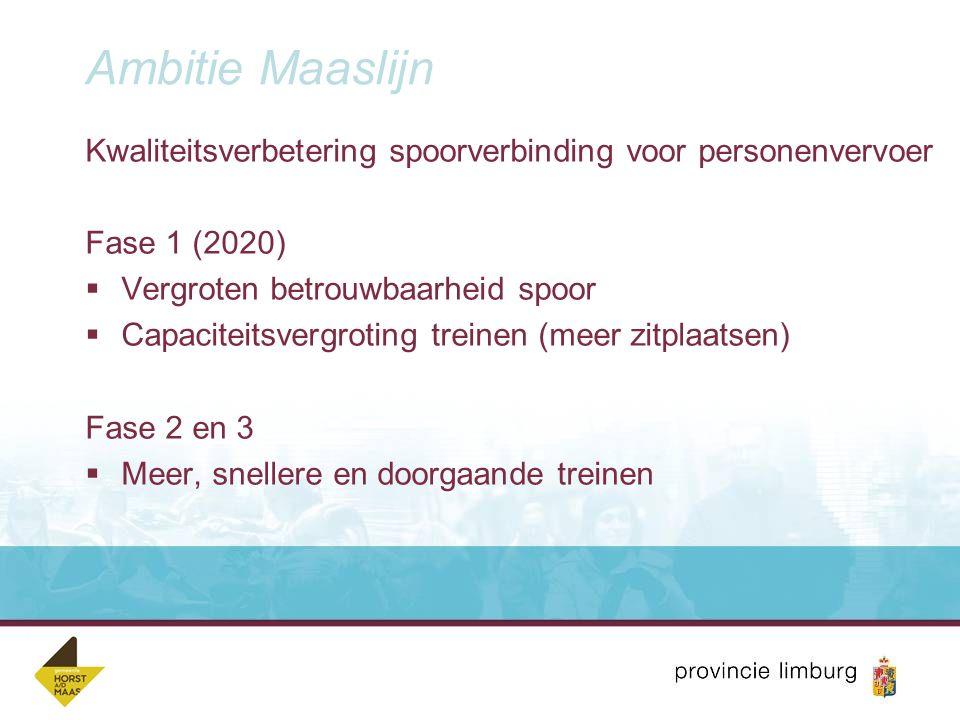 Ambitie Maaslijn Kwaliteitsverbetering spoorverbinding voor personenvervoer. Fase 1 (2020) Vergroten betrouwbaarheid spoor.