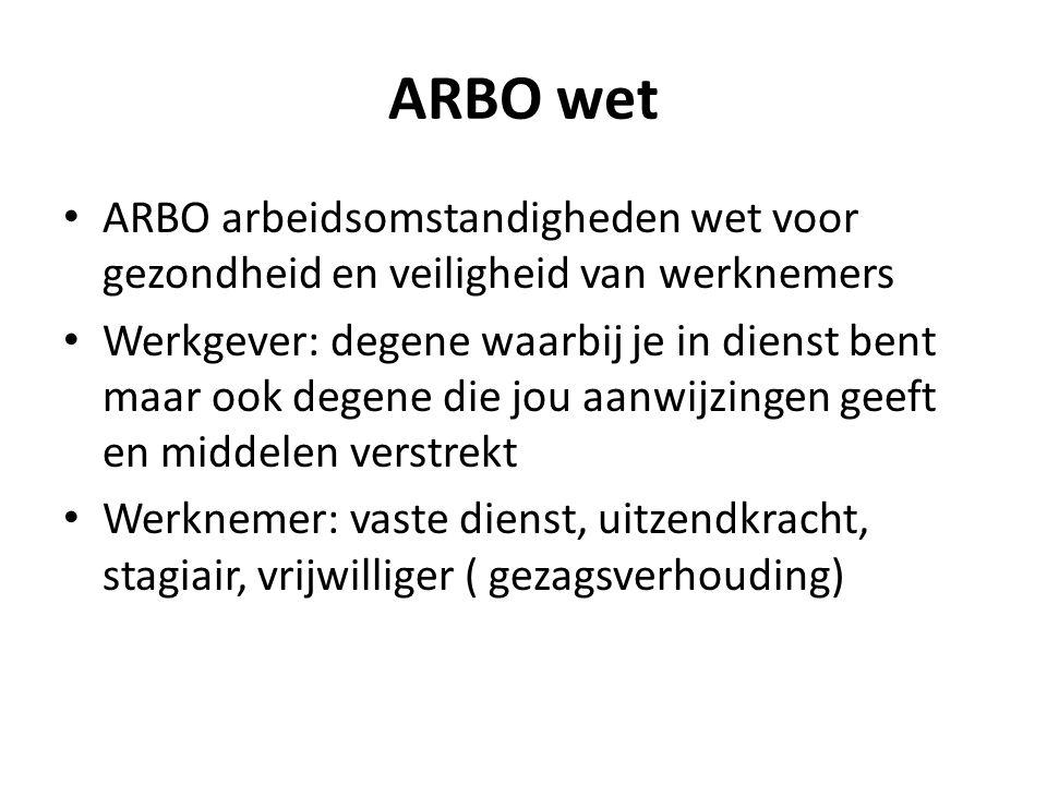 ARBO wet ARBO arbeidsomstandigheden wet voor gezondheid en veiligheid van werknemers.