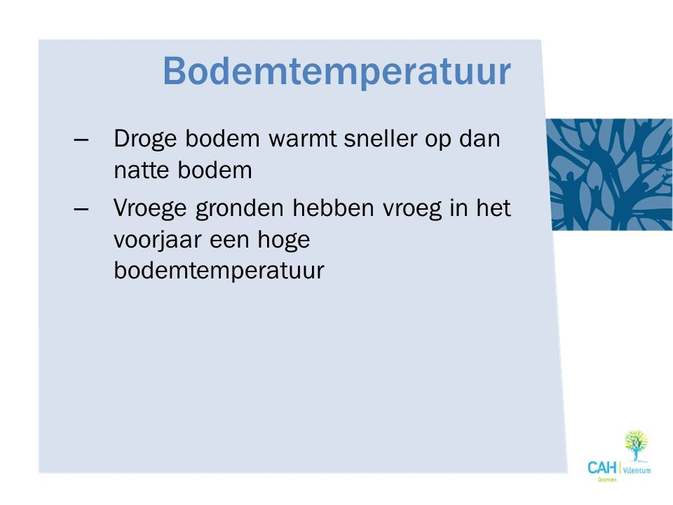 Bodemtemperatuur Droge bodem warmt sneller op dan natte bodem