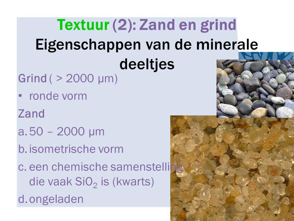 Textuur (2): Zand en grind Eigenschappen van de minerale deeltjes