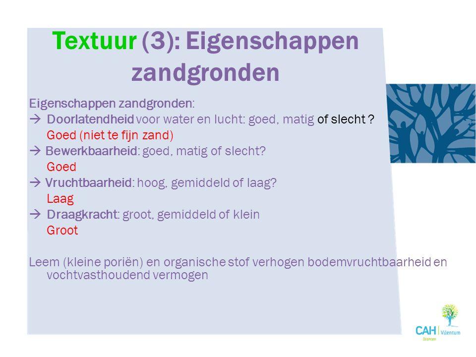 Textuur (3): Eigenschappen zandgronden