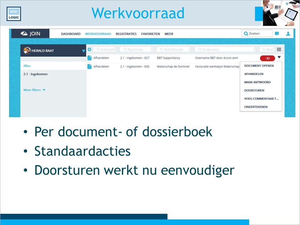 Werkvoorraad Per document- of dossierboek Standaardacties