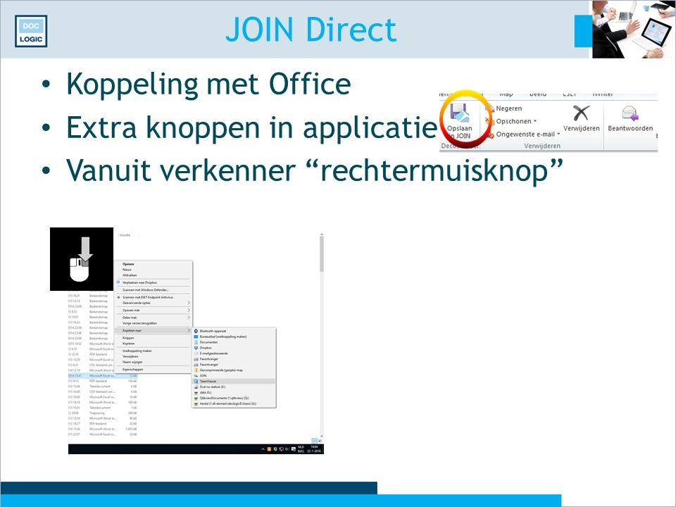 JOIN Direct Koppeling met Office Extra knoppen in applicatie