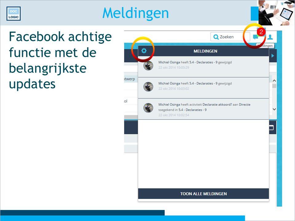 Meldingen Facebook achtige functie met de belangrijkste updates