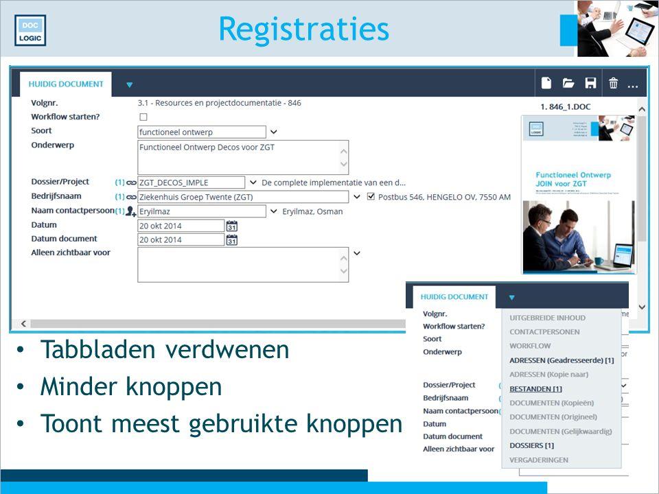Registraties Tabbladen verdwenen Minder knoppen