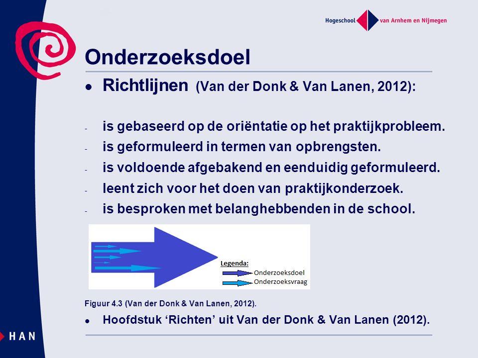 Onderzoeksdoel Richtlijnen (Van der Donk & Van Lanen, 2012):