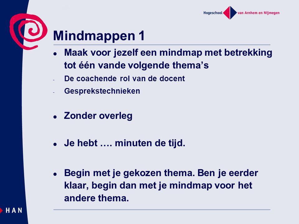 Mindmappen 1 Maak voor jezelf een mindmap met betrekking tot één vande volgende thema's. De coachende rol van de docent.
